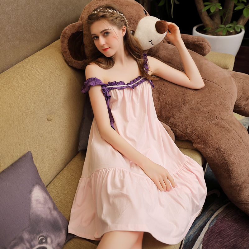 2019 Summer Women Cotton Nightdress Sleeveless Female Cute Thin Sleepwear Sweet Princess   Nightgowns   Sleeping Dress   Sleepshirts