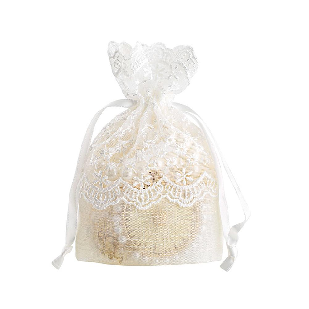White Starry Lace Jewelry Bag Bundle Pockets Candy Bags Pearl Yarn Ring Stud Earrings Bracelet Necklace Storage Supplies