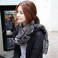Veados impressão xale Inverno Coreano Mulheres Lenço de Algodão Lenços de linho menina quente longo silenciador lenço feminino bonito preto 175X90 CM