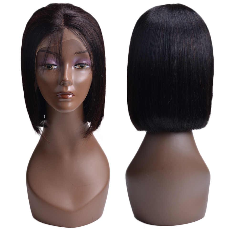 Парики из коротких волос 13x4, парики из натуральных волос на кружеве, перуанские 100%, парики из натуральных волос Remy, предварительно сорванные отбеленные узлы для женщин