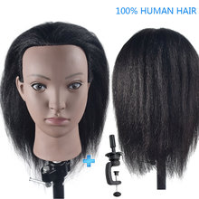 Bolihair Afro 14 Professional Female Training Head with Human Hair Mannequin for Hairdressing Cosmetology Salon Tools