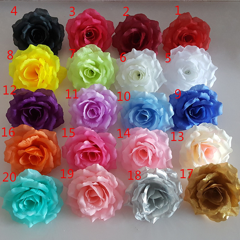 10cm Artificial Roses Flower Head White Black Royal Blue Gold