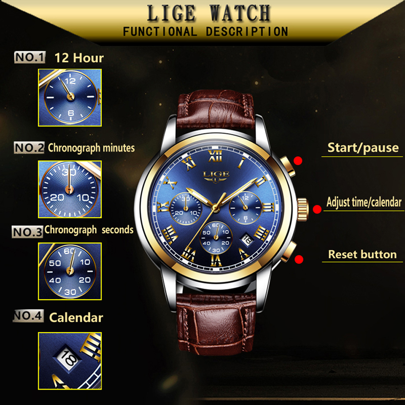 LIGE Watches Men Sports Waterproof Date Analogue Quartz Men's Watches Chronograph Business Watches For Men Relogio Masculino+Box