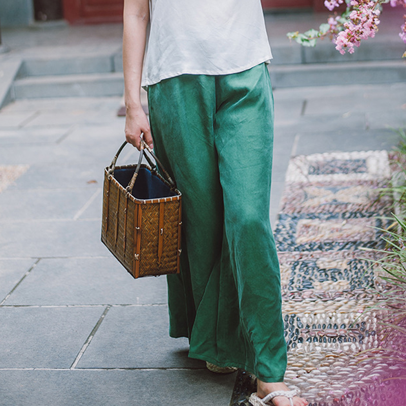 Johnature Women Vintage Pants Summer 2019 New Cotton Rayon Thin Comfortably Soft Solid Loose Brief Green