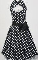 רוקבילי pin up שחור לבן פולקה דוט אונליין הלטר שמלה סקסית עיצובים לנשף מסיבת חתונת גדלים גדולים