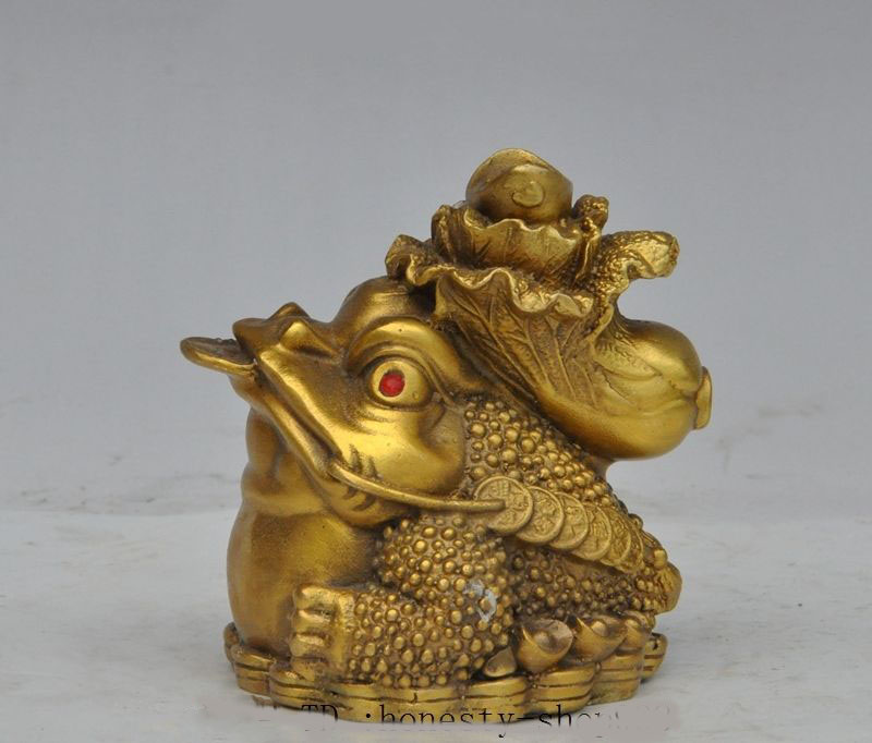 Noël chine fengshui laiton richesse chou argent pièce d'or crapaud spittor chanceux statue halloween