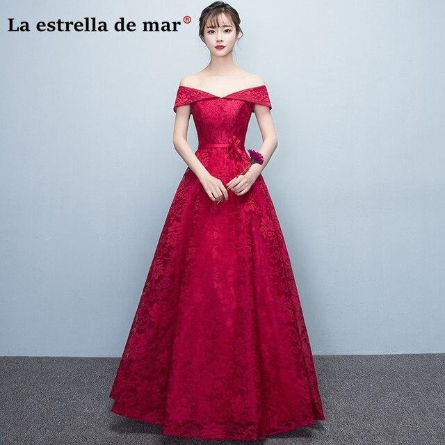 Vestido de madrinha de casamento longo2018 new sexy V neck lace sleeve  burgundy bridesmaid dresses cheap wedding guest dress acba8f35550f
