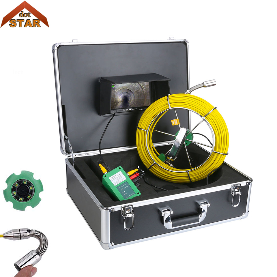 Pipe Inspection Video Camera IP68 Waterproof Drain Pipe Sewer Inspection Camera System 7LCD 1000 TVL Camera with 6W LED Lights waterproof camera head 23mm pipe inspection cameras for sewer drain check with keyboard 710dk