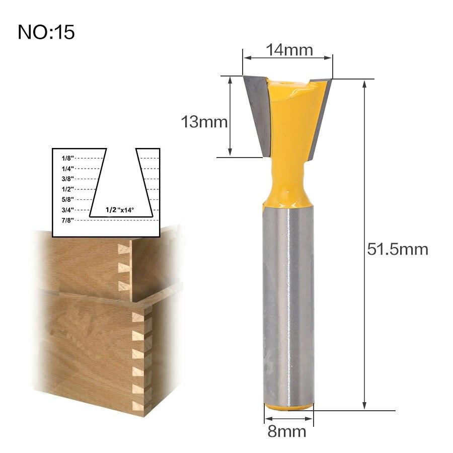 1 шт. 8 мм хвостовик триммера Ceaning Flush Trim древесины фрезы прямой конец Milll вольфрамовые фрезы для дерева Деревообрабатывающие инструменты - Длина режущей кромки: NO 15