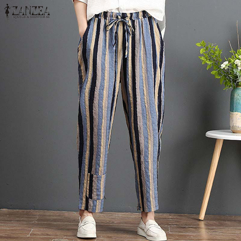 2020 ZANZEA Casual Elastic Waist Trousers Women Striped Harem Pants Autumn Turnip Pants Vintage Linen Pantalon Baggy Plus Size
