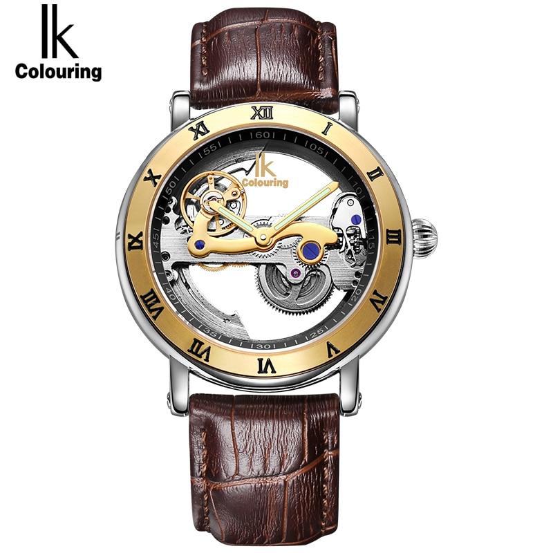IK Colouring Luxus Marke Herrenuhren Einfache Skelett Transparent Fall Mode Automatische Höhlen Heraus Mann Mechanische Uhren