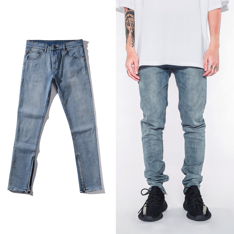 2017 fashion high street mens jeans blue skinny ankle zipper Casual Jeans Hip Hop Men Pants Stretch Shipping