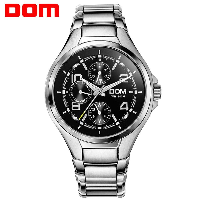 DOM Hommes mens montres haut marque de luxe étanche quartz en acier inoxydable montre sport montres pour hommes MS-376