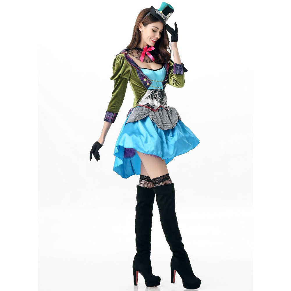 Halloween Clown Girl Outfit.2018 New Adult Womens Sexy Halloween Party Circus Clown Costumes Outfit Fancy Magician Girl Cosplay Dress