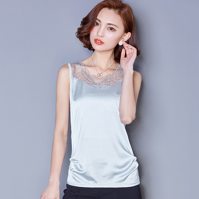 c6a0decac3acfb Pure silk suspenders sleeveless summer blouse openwork lace vest wild gray  tight little camisole female backing shirt Slim