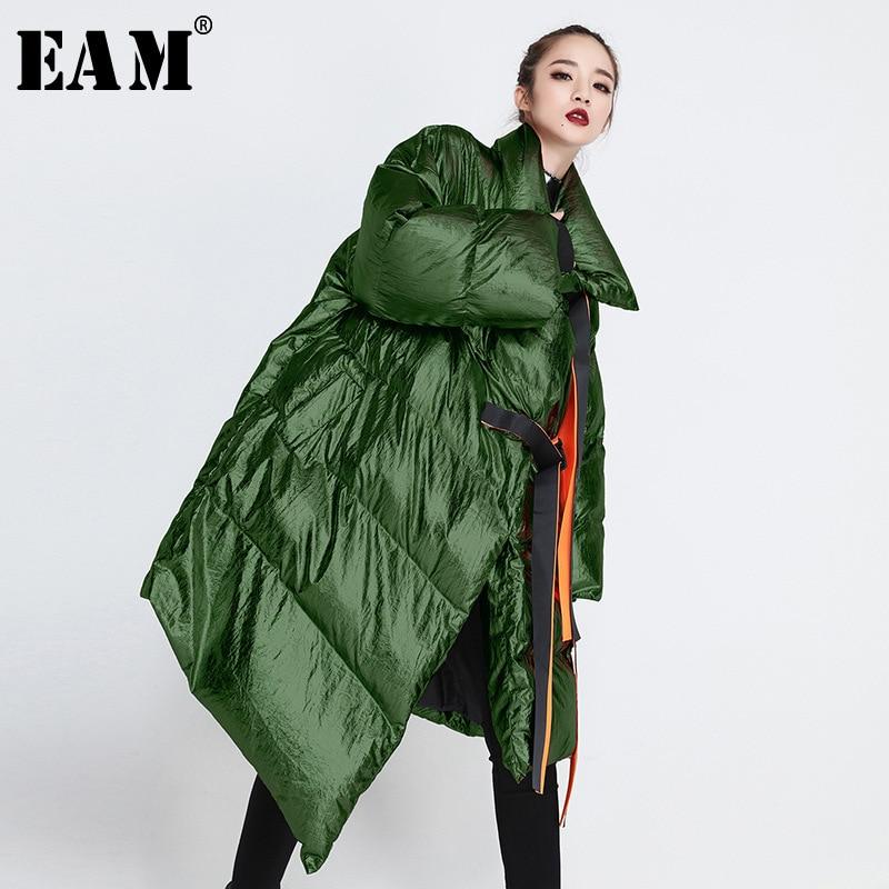 EAM 2019 New Spring Satnd Collar Long Green Large Size Metal Color Irregular Cotton padded
