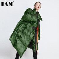 [EAM] 2018 New Autumn Winter Satnd Collar Long Green Large Size Metal Color Irregular Cotton padded Women Fashion Coat JI22
