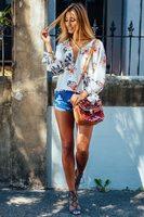 Vestidos Femininos Chiffon Blouse 2017 Summer Women Clothing Loose Long Sleeve Print Flower Deep V Neck
