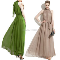 Plus Size Women Girl Vintage Ruffled High Neck Chiffon Sleeveless Long Maxi Big Hem Dress Ball