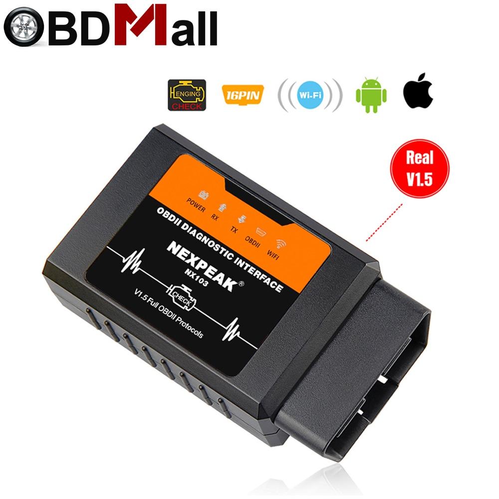 ELM327 OBD2 WIFI V1.5 Auto Strumento Diagnostico ELM 327 OBD II Scanner ELM327 nuovo Chip PIC18F25K80 Lavoro Android/IOS /Finestre 12 v Diesel