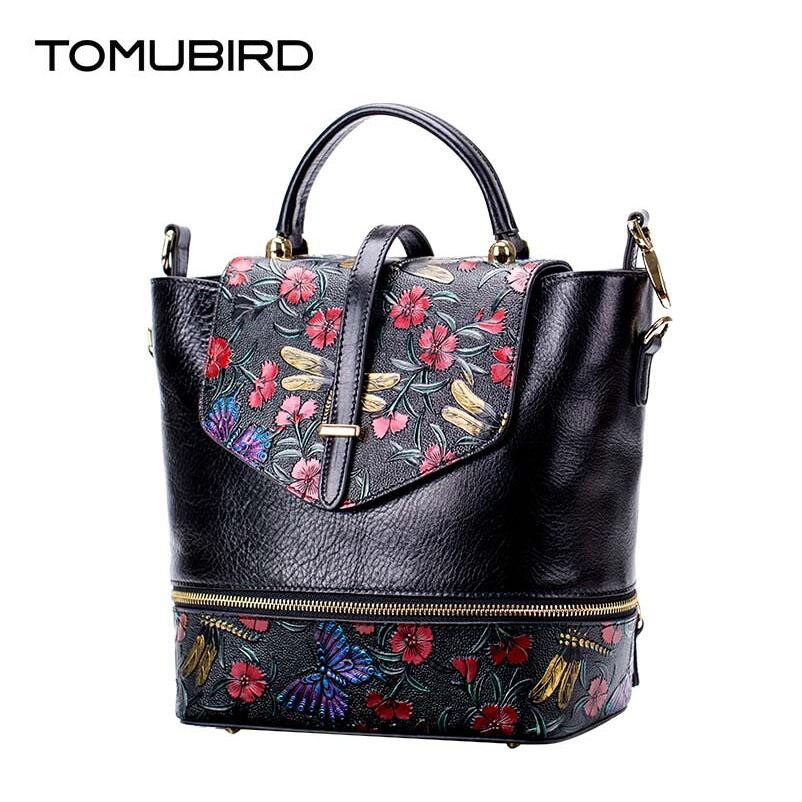 TOMUBIRD new Superior cowhide leather Painting embossed  famous brand women bag fashion genuine leather handbags Tote Bucket bag tomubird new superior cowhide leather designer rose embossed famous brand women bag fashion tote women genuine leather bag