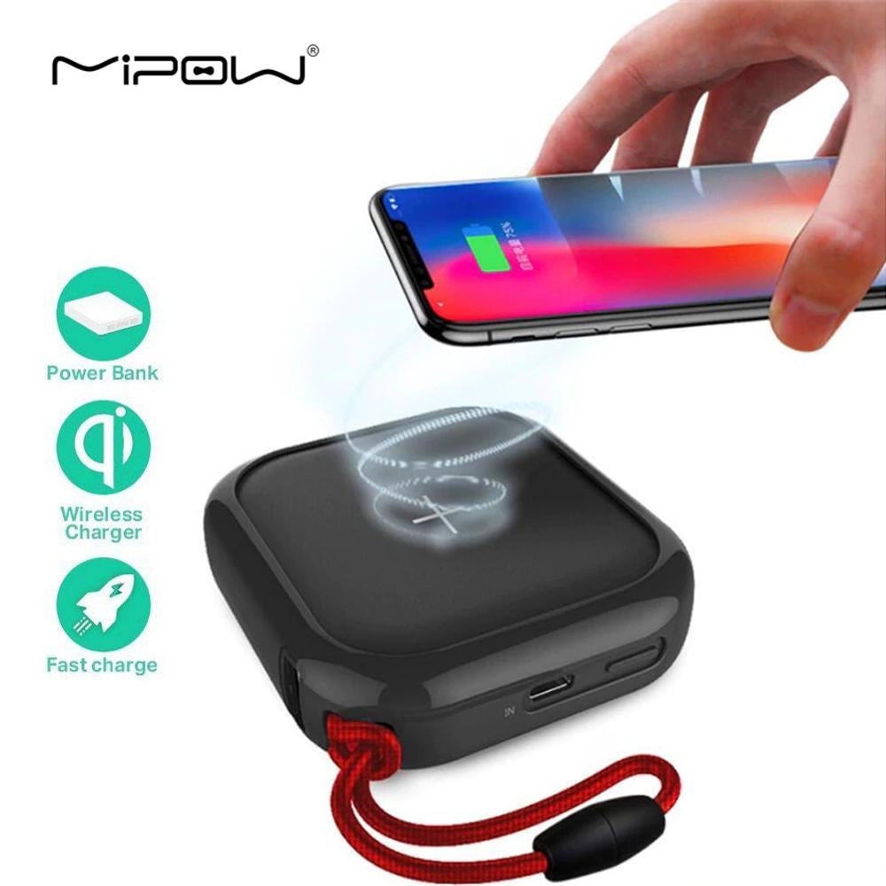 MIPOW QI Portable batterie externe sans fil 10000 mah chargeur de batterie avec double Port USB haute vitesse batterie externe pour iPhone Samsung