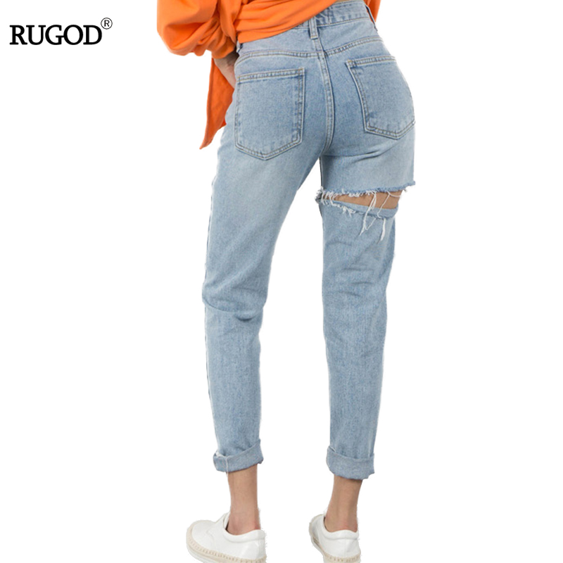 Plus Size Jeans Woman 2019 Vintage Ripped Jeans For Women High Waist Jeans Woman Pencil Pants Special Hole Denim Pants Femme