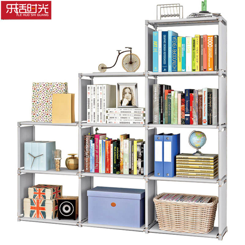 цена Multi-layer Book Storage Lattice steel pipe nonwoven Bookshelf Simple Assembly can be removed living room shelf Home Decoration
