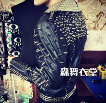 Men's Bar nightclub singer ds Male singer DJ guests motorcycle leather hand- rivet punk costumes clothing leather jacket coat