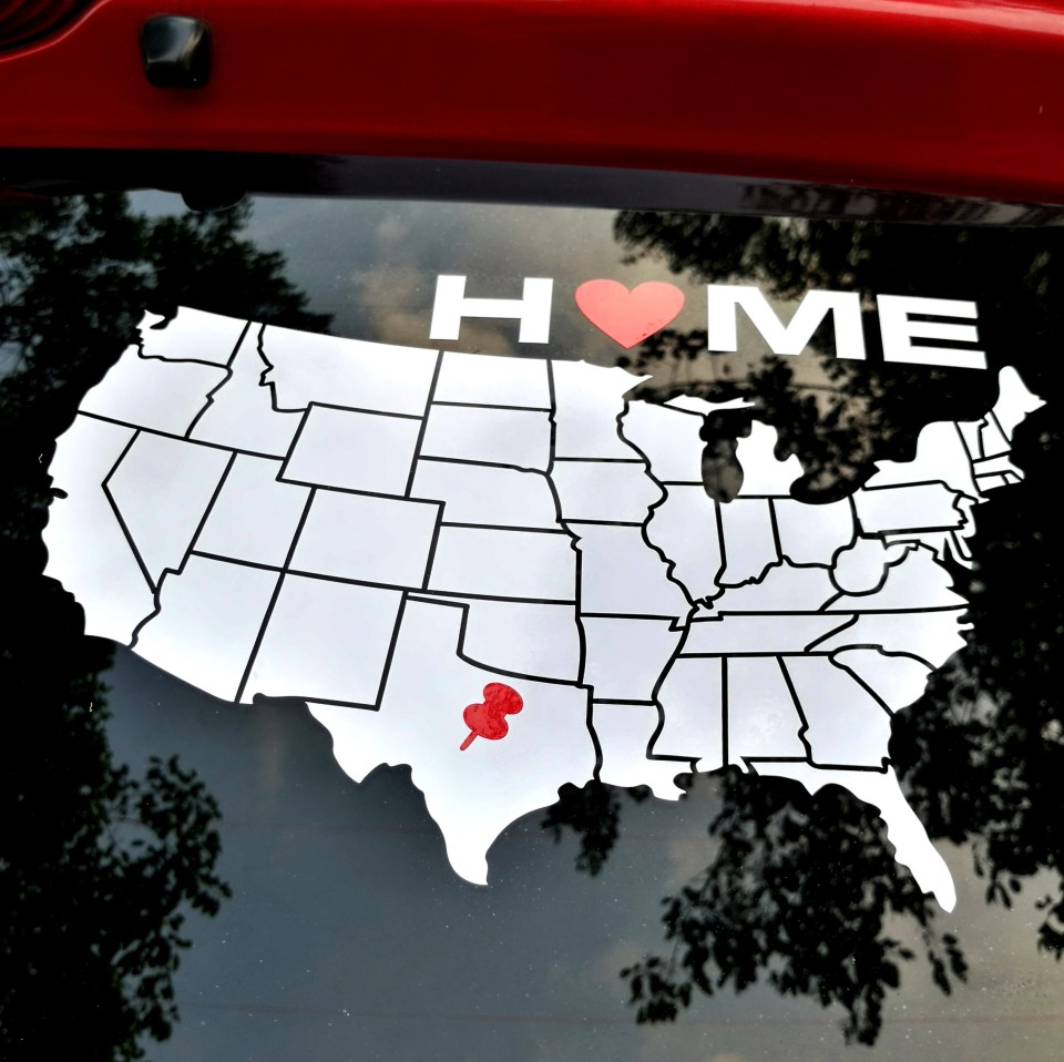 YOURART USA Map HOME Vinylové nálepky na auto Pin na americké mapě Autopříslušenství pro Ford Chevrolet Toyota Dodge