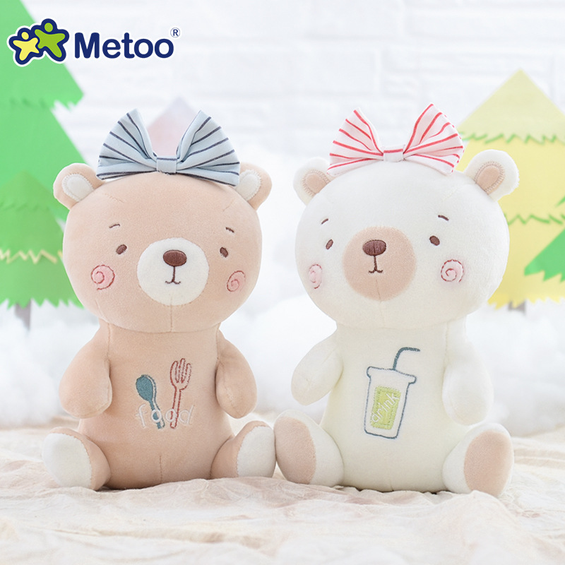 21cm Bear Rabbit Kawaii Stuffed Plush Animals Cartoon Kids Toys for Girls Children Baby Birthday Christmas Gift Metoo Doll ucanaan plush stuffed toys for children kawaii soft 6 colors rabbit bear best birthday gifts for friends doll reborn brinquedos