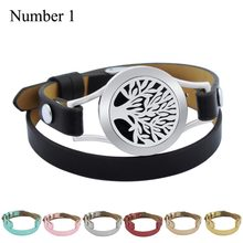 Magnet Tree Of Life 25mm Black Genuine Leather Aroma Locket Stainless Steel Bangle Essential Oils Aromatherapy Locket Bracelet(China)