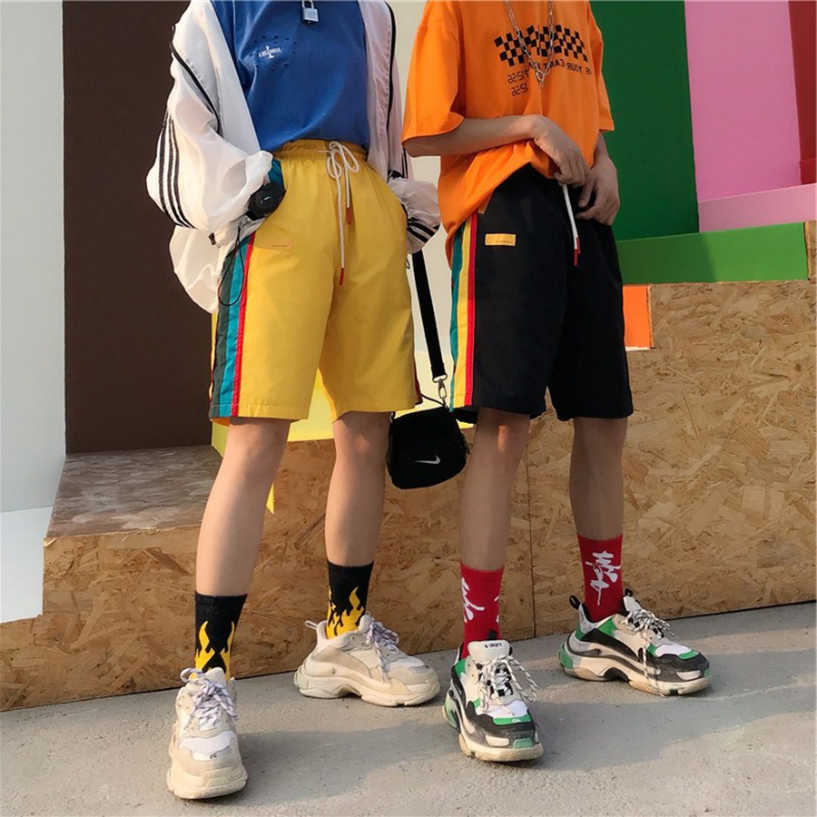 Loose Casual Striped   Shorts   Women Sport Harajuku High Waist   Shorts   Korean Fashion   Short   Feminino Street Style Sweatpants 50H0252