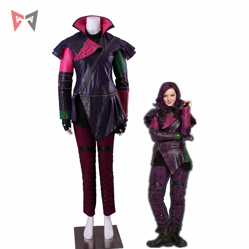 MMGG Descendants 2 Cosplay Mal Cosplay Costume Leather Coat Punk Style Full Set Custom Made Size Party Top