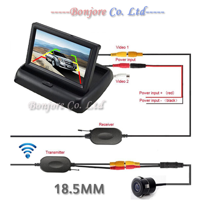 2016 Universal 4 3 Foldable TFT LCD Monitor Vehicle System Parking Assistance With Waterproof Car Backup