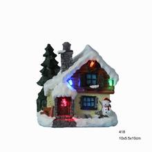 4″ LED paper mache small Christmas house design with led light