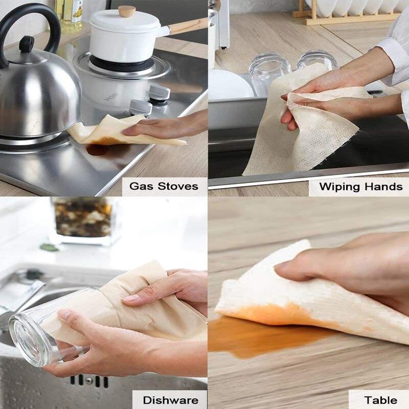 Mehrweg Bambus Papier Handtuch Eco Freundliche Maschine Waschbar Starke Dicken Saugfähigen Papier Handtuch 50 Wiederverwendbare Blätter Eco küche Rolle