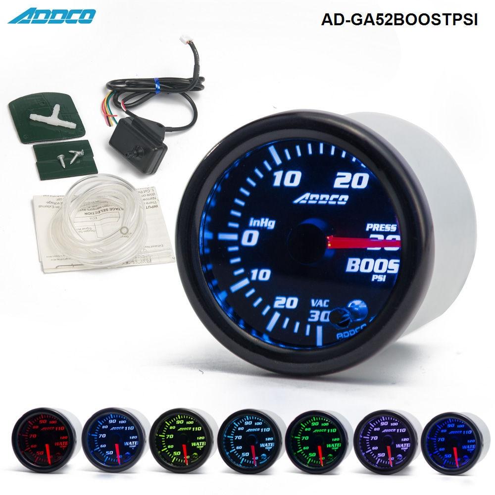 цена на s -2 52mm 7 Color LED Electrical Car PSI Turbo Boost Gauge Meter With Sensor and Holder AD-GA52BOOSTPSI