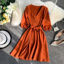 NiceMix Elegant Women Summer V-neck Lantern Sleeve Bandage Strap Sashes Button Dress New Vintage A-line Slim High Waist Party Mi