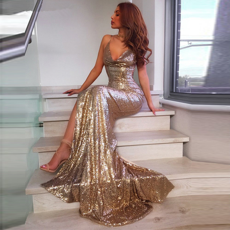 Mermaid Sequined   Evening     Dresses   2019 V-Neckline Backless Sexy Side Slit Robe De Soiree Sexy Spaghetti Straps   Evening   Gown