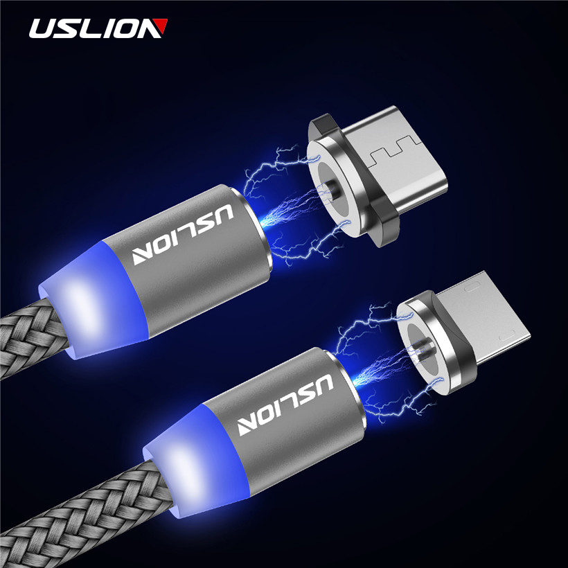 Mobile Phone Cables Mobile Phone Accessories Collection Here Jusfyu Led Magnetic Cable 8pin & Micro Usb Cable & Usb Type C Cable Nylon Braided Type-c Magnet Charger Cable For Samsung S10 S9