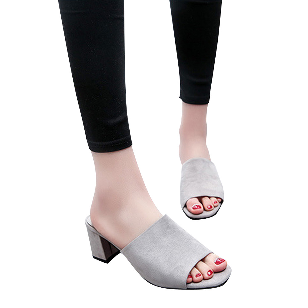 2018 New Arrival Summer platform Open Toes Women Fashion Flock Square Toe Mules Wedges high heel Fish mouth slipper2018 New Arrival Summer platform Open Toes Women Fashion Flock Square Toe Mules Wedges high heel Fish mouth slipper