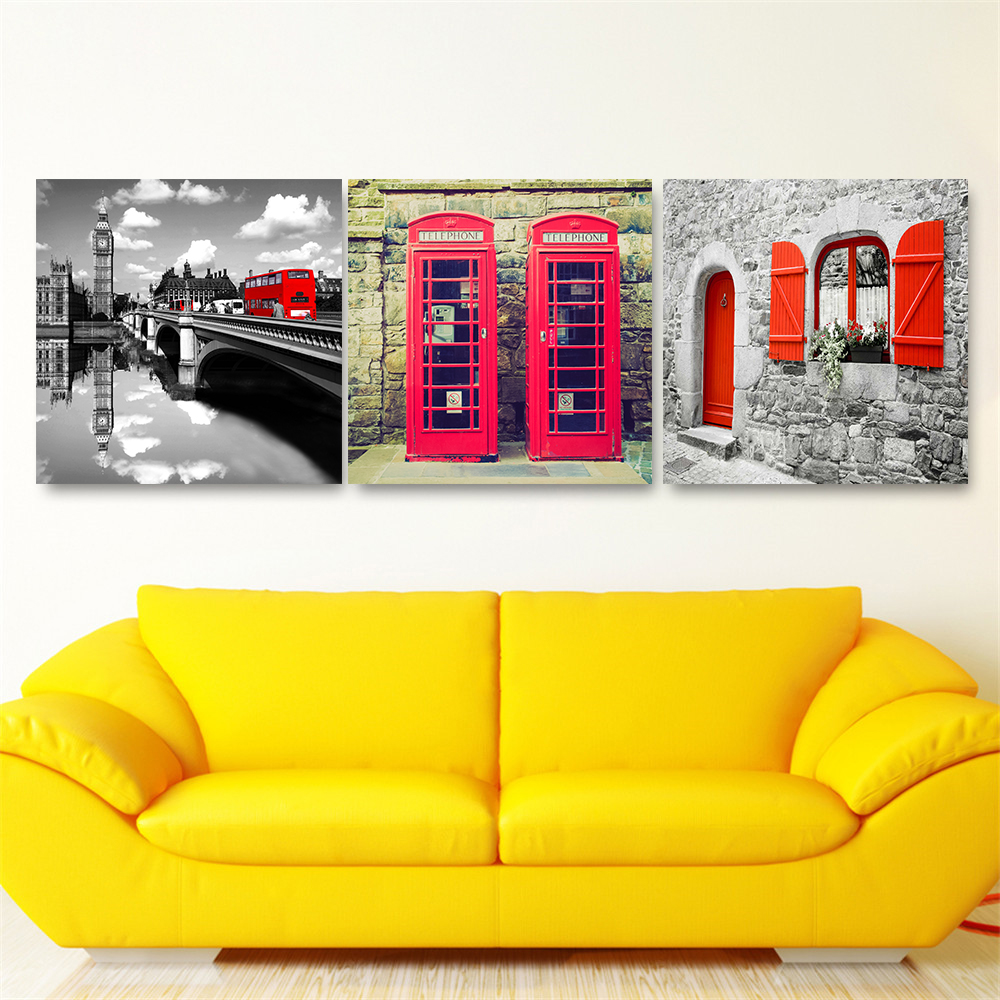 Black White Wall Art London Red Bus Telephone Booth Paris Tower New ...