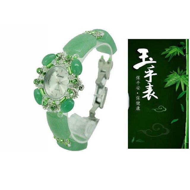 Giada di cristallo delle signore del quarzo della vigilanza di marca signore della vigilanza del braccialetto di giada oro semplice per il tempo libero della fascia orologio al quarzo design minimalista Relo