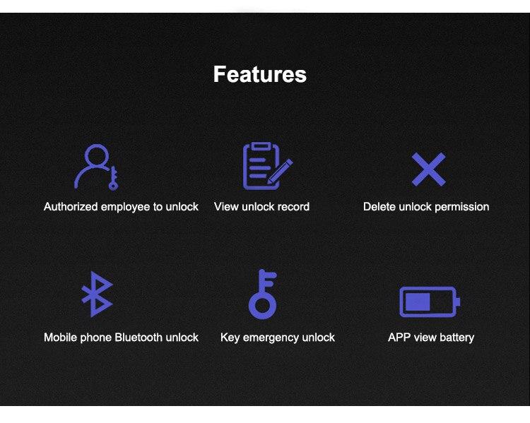 Smart Bluetooth APP Door lock U shape Lock for Store Company Glass Double Door Anti-theft APP Remote Control U-shaped locks (2)