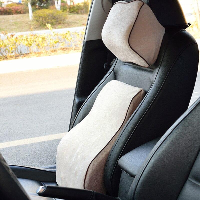 Автомобильная подушка на спинку и подголовник, Офисная подушка на спинку сиденья и подголовник, хлопковая пена с эффектом памяти, пояснична