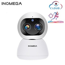 INQMEGA Cloud 1080P 2MP dwuobiektywowa bezprzewodowa kamera IP Wifi automatyczne śledzenie wewnętrzne bezpieczeństwo w domu kamery monitoringu CCTV kamera sieciowa