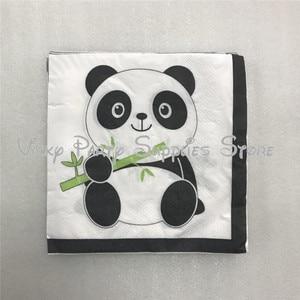 Image 3 - 112 pcs/lot dessin animé Panda thème fête danniversaire jetable vaisselle ensemble assiettes serviettes fête fournisseurs décorations