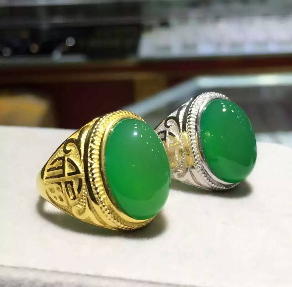 Natural green chalcedony stone Ring Natural gemstone Ring S925 sterling silver trendy big Thick hollow women's men Jewelry