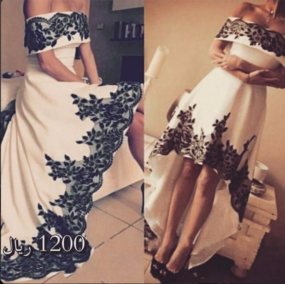 Pageant Dresses vestido de festa Black Lace Appliqued One White Short Prom Dress Front Long Back Long Suadi Arabic Evening Dress